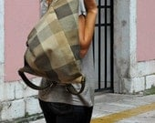 Handmade backpack made in  plaid canvas- leather , Named Kalliope MADE TO ORDER