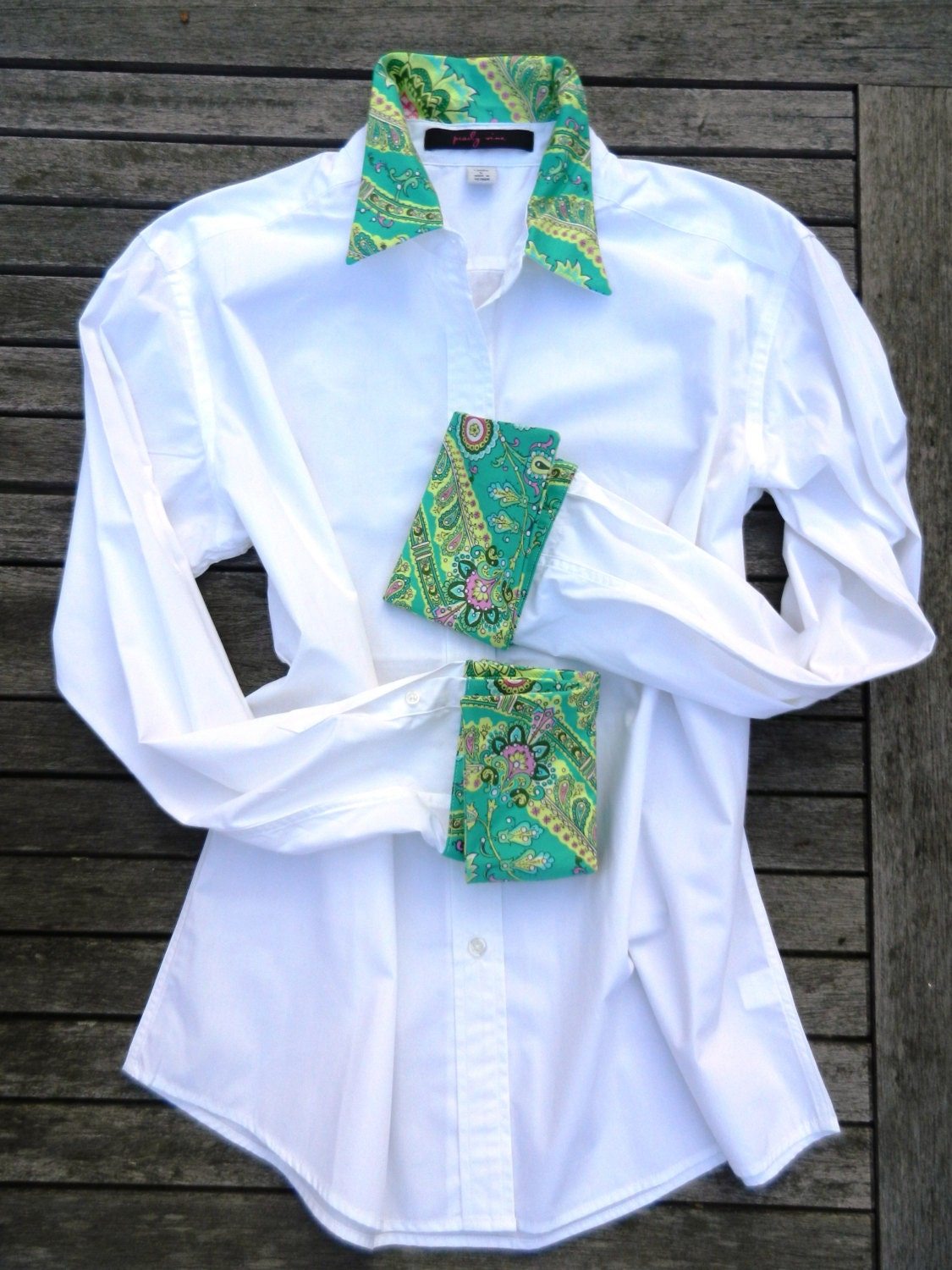 white french cuff shirt w green paisley cuffs and collar