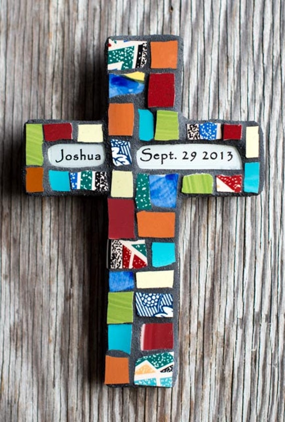 Personalized Mosaic Cross with Recycled China Shards MADE TO ORDER