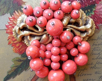 MIRIAM HASKELL Coral Bead & Russian Gold Pin Brooch