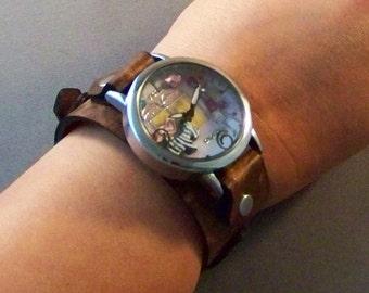 Vintage Leather Watchband, Women Watch, Leather Cuff Watch, Clay Watch, Brown Leather Watch, Bracelet Watch, Leather Wrist Watch