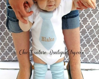 Easter Baby Boy Tie Outfit Herringbone Personalized Tie Bodysuit. Any Tie w Embroidery. Preppy, Classy Tie 1st Birthday Newborn Coming Home