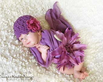 Baby Girl Hat, NEWBORN 0 to 1 Months Baby Girl Hat, Girl Flapper Hat, Plum Purple with Fuchsia Flower. Newborn Photo Props. Baby Gift. Kids