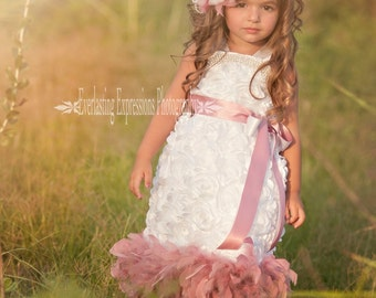 Sweet Mist Angel Rosette Girls Feather Dress