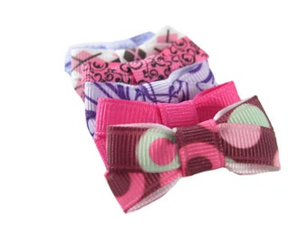 4 Small Dog Bows - Choose any 4 from over 100 colors and Prints - Yorkie Shih Tzu Maltese - Skinny Dog Hair Bows