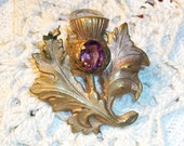 Vintage ART NOUVEAU Fur Clip, Brass Thistle Stamping w/Amethyst Stone, Beautiful Detailed 1920's Era Piece, Christmas Gift!