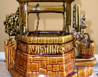SALE!!!  Vintage McCOY POTTERY, Wishing Well Planter, Brown Green & Gold Glaze, Excellent Figural Piece, Super Condition