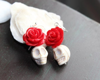 Red Rose and White Sugar Skulls earrings