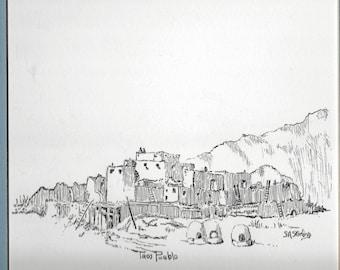 Taos Pueblo in pen and ink