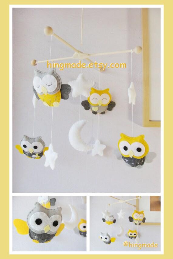 baby crib mobile owl modern mobile nursery mobile felt mobile