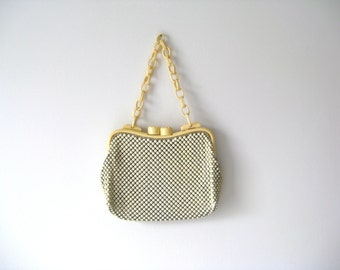 SALE vintage 1940s bag / 40s Whiting and Davis celluloid mesh bag