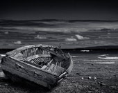 Shipwrecked Wooden Boat on a Lake Michigan Beach No.0099 A Black and White Fine Art Horizontal Seascape Boat Photograph
