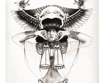 CLEARANCE SALE -  Libra A4 Fine Art Print - Horoscope Art, Zodiac Print, Illustration, A3 Print, Libra poster, Egyptian headdress
