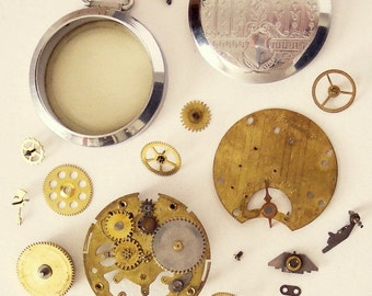 Lot of Vintage Steampunk Clockwork 1940s Pocket Watch Parts Gears Case and Mechanisms from an Old Pocket Watch