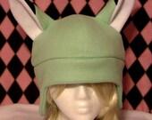 Kitsune Fox Mint Green Fleece Hat