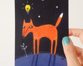 "Fox With A Plan Original Acrylic Painting (4"" x 6"") Cute Animal Illustration Wall Art"