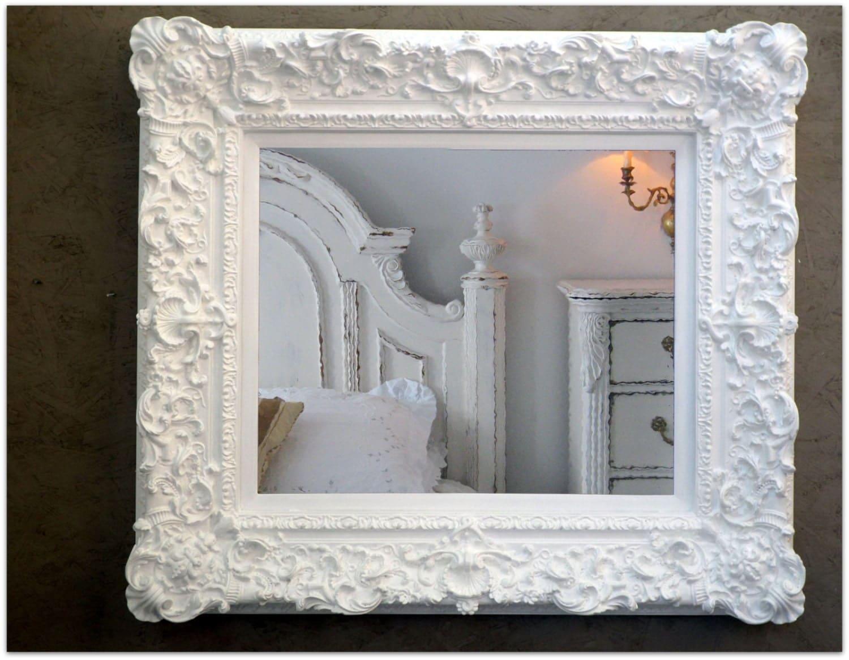 Wilko baroque mirror silver 87x62cm - Large Rococo White Mirror Huge Baroque Wedding Nursery Frame