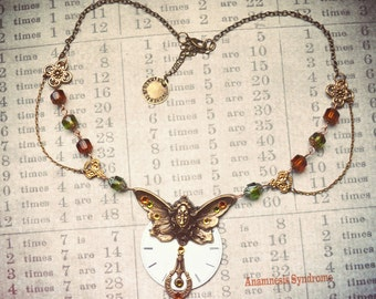 Steampunk Necklace, butterfly woman