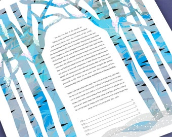 Ketubah - Winter Birch Chuppah
