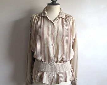 80s Vintage Blouse Creeds Silk Feminnine Beige Stripe Knit Band Top Large