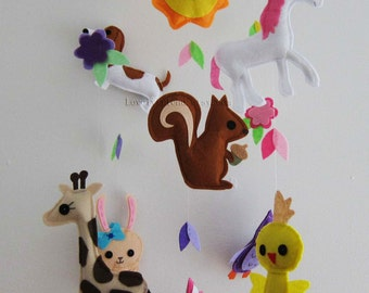 """Baby Mobile - Nursery Mobile - Unicorn and his friends crib Mobile - """"Unicorn and Her Friends"""" Mobile  (Custom Color Available)"""