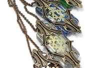 Steampunk Necklace Passages with Escutcheon by Dr Brassy Steampunk Opalescent Glass and Art Deco Gold Brass Custom