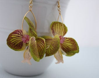 Orchid Flower Earrings, Floral Earrings, Hawaiian Flowers, Flower Jewelry Hawaii Jewelry Statement Earrings Green Flower Tropical Flower 085
