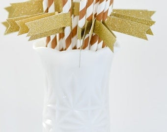 Milk Chocolate Brown & White Stripe Paper Straws with Gold Glitter Flags - 24 count