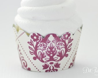 Plum Deep Raspberry Damask Cupcake Wrappers - Set of 24 - MINI Size