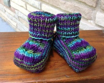 Knitted Baby Booties - Newborn Size - Purple/Green/Blue Variegated