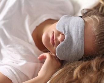 Heather Grey Cotton Knit Sleeping Mask