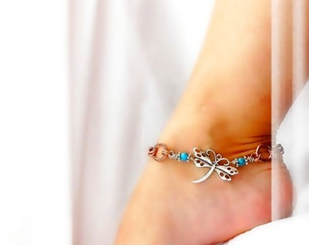 Southwestern Fly Zone Dragonfly Anklet Copper Infinity Chain Blue Turquoise Ankle Bracelet