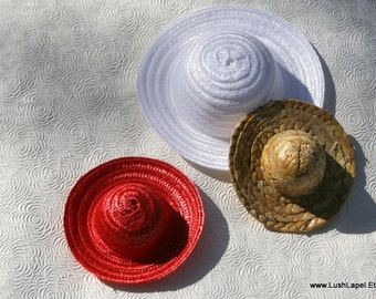 Mini Straw Hat Summer Fascinator Base - Natural Hat Base in Red, Metallic, White, etc