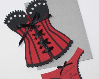 Lingerie Shower Invitation - Red Corset invitation, set of 12