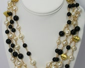 Custom Listing Necklace - Black and White crystal pearls with goldtone wire
