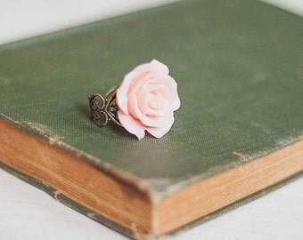 Pink Rose Ring Large Rose Ring Adjustable Band Antique Brass Filigree Romantic Jewelry Flower Cocktail Ring Bridesmaids Gift Pink Wedding