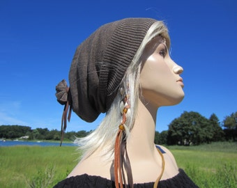 Artist Style Hat Merino Wool Slouchy Hat, Taupe Brown Beanie Tam A214
