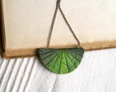 Ombre fan necklace polymer clay faux leather pendant necklace forest green banana green dark green color progression geometric necklace