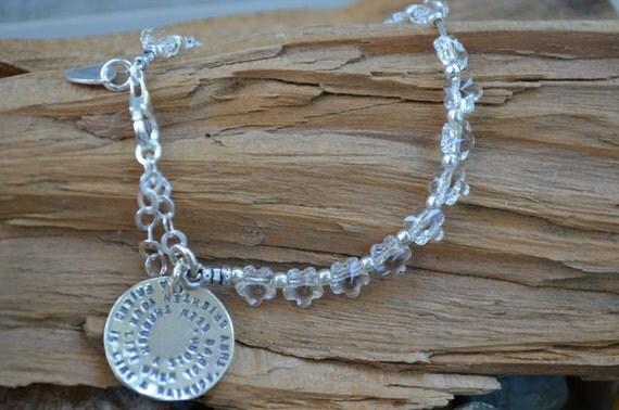 Friendship Braclelet - Sterling Silver Bracelet with Swarovski Flowers and Silver Disc - Best Friends, Daughter, Sisters, Going Away Gift