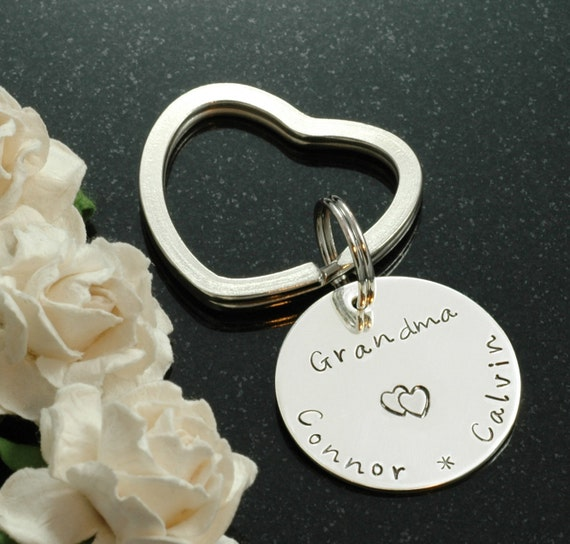 Hand Stamped  Key Chain - Personalized - for  Mom or Grandma - names or words - you pick it