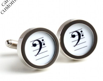 Musical Cufflinks with Bass Clef in Black and White PC225