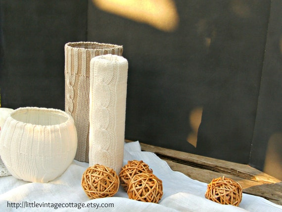 Sweater Vases - Set of Three Fall and Winter Flower Vases