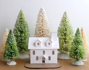 Putz House Ornament DIY Kit Colonial Glitter House Christmas Decoration