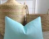 Light Blue Solid Pillow Cover - Lumbar - Wide Solid in Aqua
