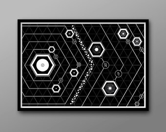 Geek Art Solar System Print // Graphic, Black and White Geometric Print // Roman Icons, Hexagons, the Planets and their Orbits