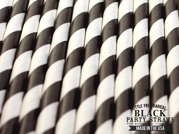 BLACK Striped Eco-friendly Paper Party Straws & Digital Flags - - -  Made in the USA - - - FDA approved - - - Ships within 1 Business Day