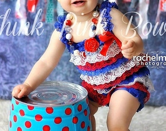 Baby Headband and Petti Lace Romper SET, 4th Of July Headband and Lace Petti Romper,Baby Headbadns,Petti Romper,Patriotic Headband.