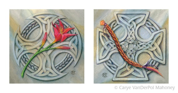 "Two celtic knot designs carved in marble, one with a lily and one with a braid - Art Reproductions (Print) - ""Memento 1"" & ""Memento 2"""