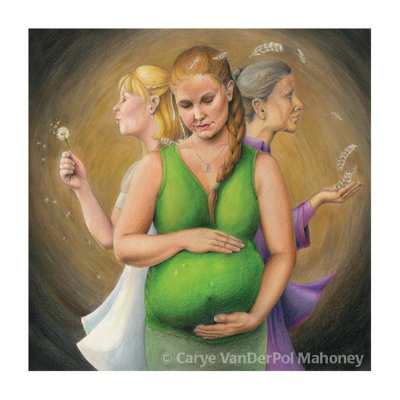 "Celtic Triple Goddess: young maiden, pregnant mother, wise crone (stages for women) - Art Reproduction (Print) - ""Energy, Fertility, Wisdom"""