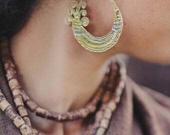 Handcarved Tribal Brass Earrings